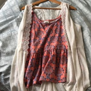 Women's boho tank and lace cardigan plus size